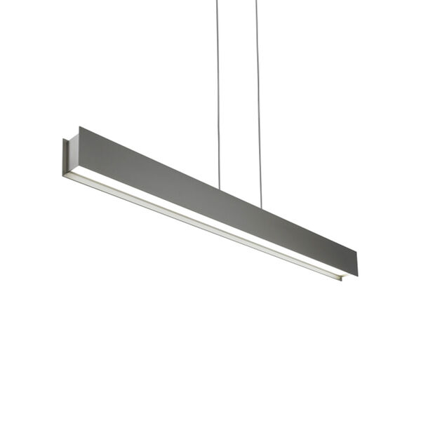 Vandor Satin Nickel One-Light LED Pendant with Gray Shade and Satin Nickel Stem, image 1
