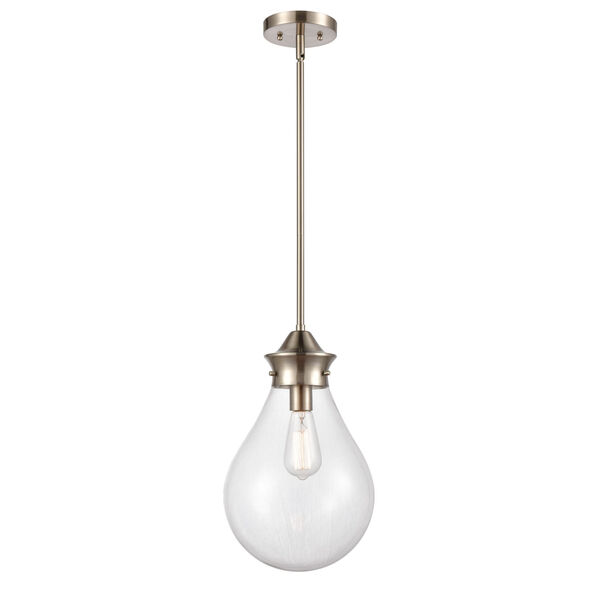 Genesis Satin Nickel 10-Inch One-Light Pendant with Clear Glass Shade, image 1