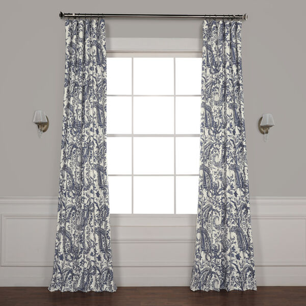 Edina Blue 120 in. x 50 in. Printed Cotton Curtain Panel, image 1