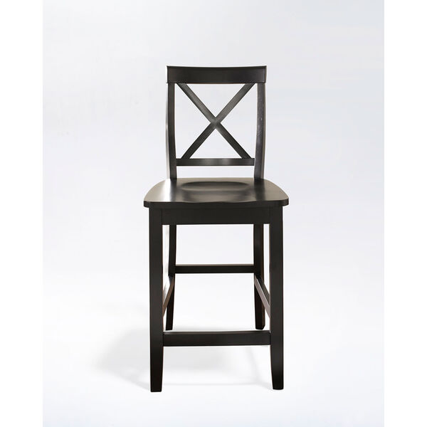X-Back Bar Stool in Black Finish with 24 Inch Seat Height- Set of Two, image 2