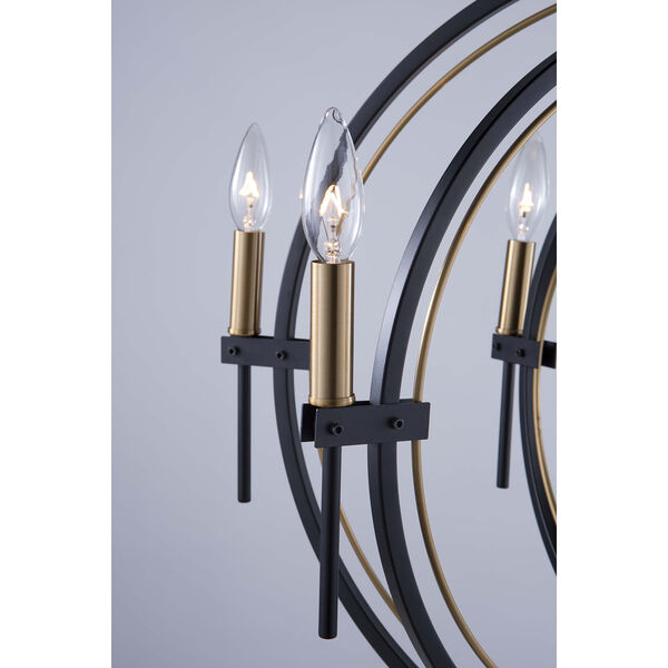 Anglesey Matte Black and Harvest Brass Six-Light Chandelier, image 3