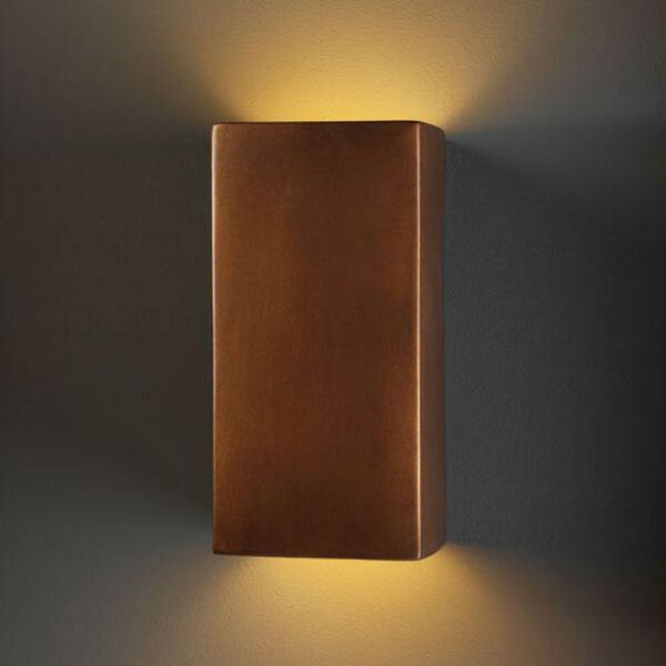 Ambiance Antique Copper LED Large Rectangular Outdoor Wall Sconce with Opened Top and Bottom, image 2
