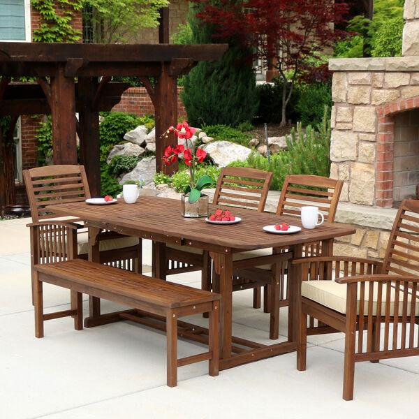 6-Piece Dark Brown Acacia Patio Dining Set with Cushions, image 2