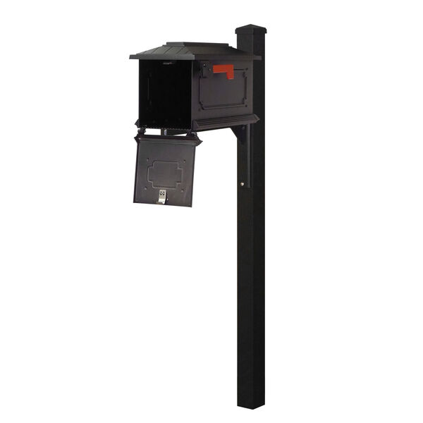 Kingston Curbside Black Mailbox and Wellington Direct Burial Mailbox Post Smooth Square, image 3