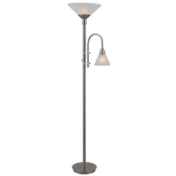 Brady Brushed Steel Torchiere with Reading Arm, image 1