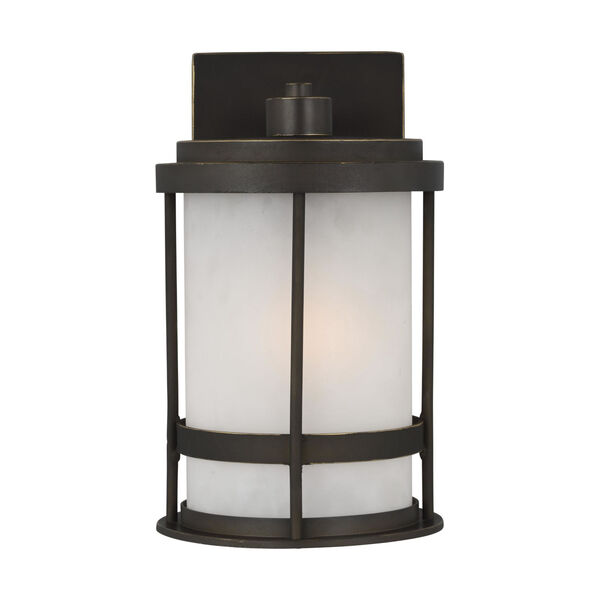 Wilburn Antique Bronze Six-Inch One-Light Outdoor Wall Sconce with Satin Etched Shade, image 1