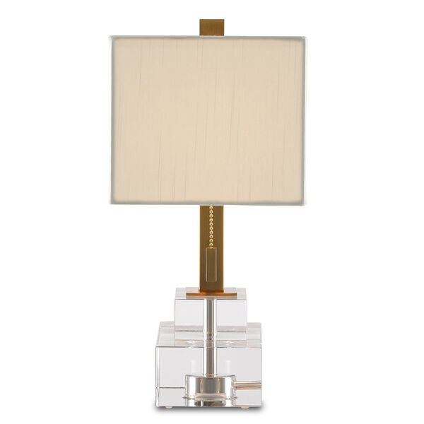 Chiara Clear and Antique Brass Two-Light Table Lamp, image 4
