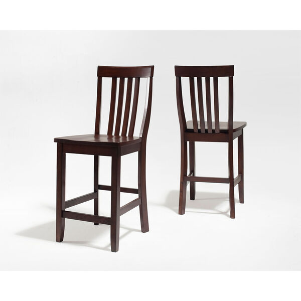 School House Bar Stool in Vintage Mahogany Finish with 24 Inch Seat Height- Set of Two, image 3