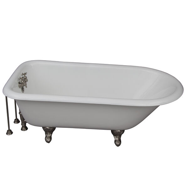 Brushed Nickel Tub Kit 67-Inch Cast Iron Roll Top, Tub Filler, Supplies, and Drain, image 1