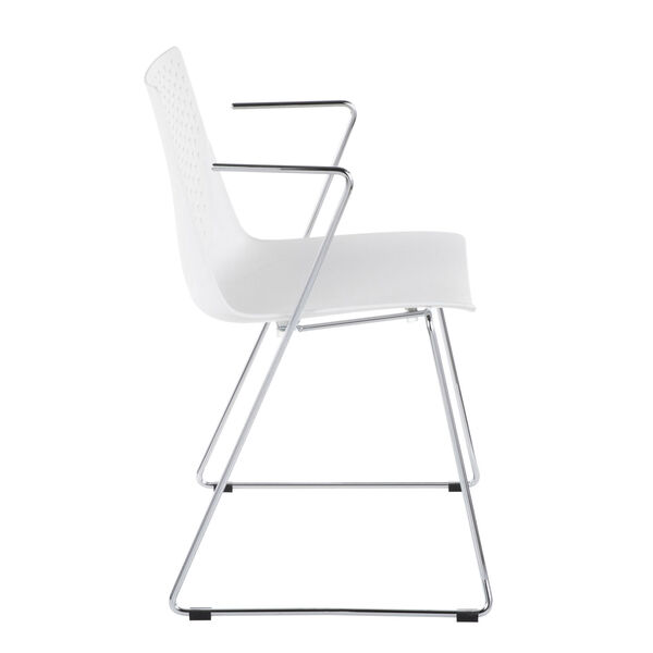 Matcha Chrome and White Dining Chair, Set of 2, image 3