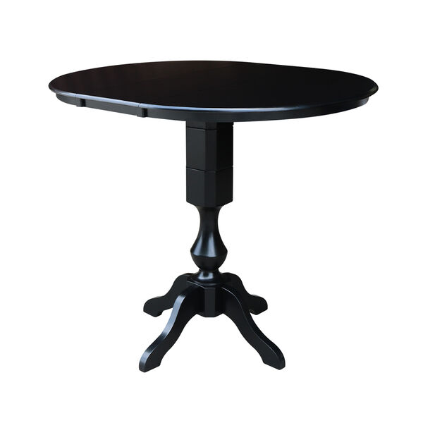 Black 36-Inch Curved Pedestal Bar Height Table with 12-Inch Leaf, image 3