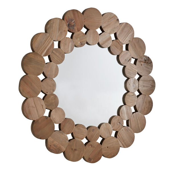 Katherine Natural Reclaimed Wood 39-Inch Round Wall Mirror, image 2