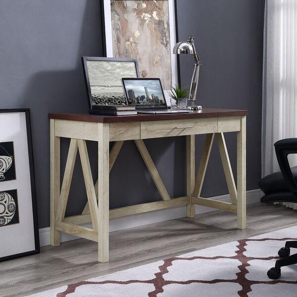 46-Inch A-Frame Desk, White Oak Base/Traditional Brown Top, image 4