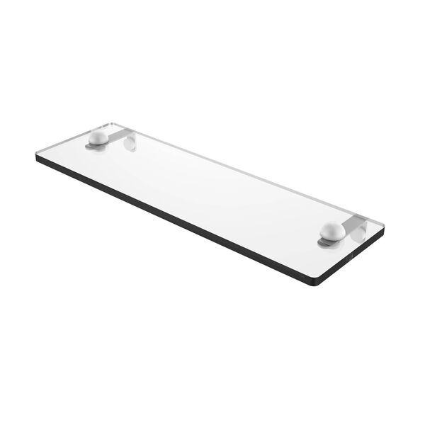 Matte White 16-Inch Glass Vanity Shelf with Beveled Edges, image 1