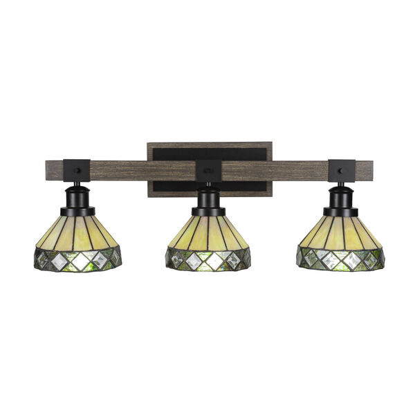 Tacoma Matte Black and Distressed Wood-lock Metal 27-Inch Three-Light Bath Light with Diamond Peak Art Glass Shade, image 1