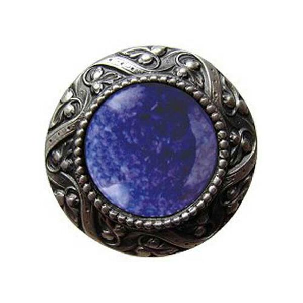 Pewter Victorian Jeweled Knob with Blue Sodalite Stone , image 1