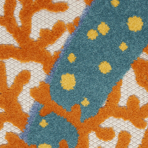 Aloha Orange and Blue 4 Ft. x 4 Ft. Round Indoor/Outdoor Area Rug, image 6