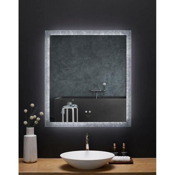 Frysta White 30 x 40 Inch LED Frameless Rectangualar Mirror with Dimmer and Defogger, image 2