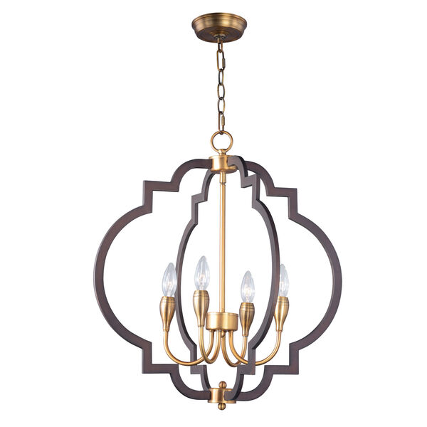 Crest Oil Rubbed Bronze and Antique Brass Four-Light Chandelier, image 1