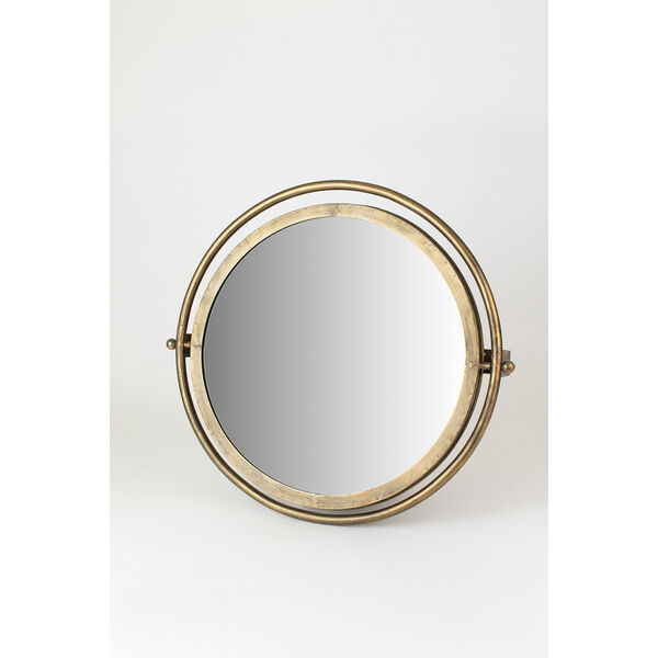 Gold Round Wall Mirror with Adjustable Bracket, image 2