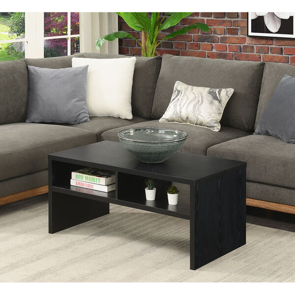 Northfield Admiral Black Deluxe Coffee Table with Shelves, image 2