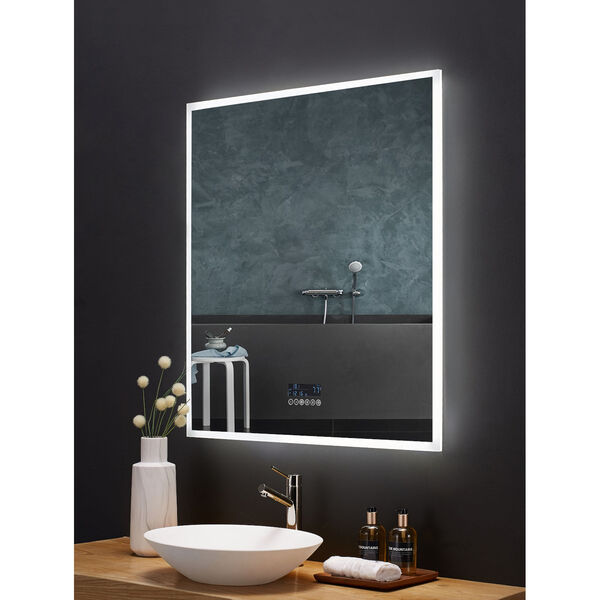Immersion White 36 x 40 Inch LED Frameless Mirror with Bluetooth Defogger and Digital Display, image 4