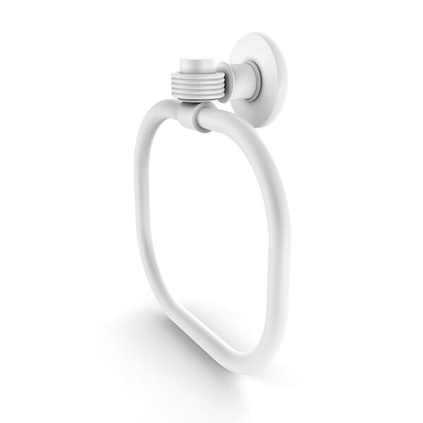 Continental Matte White Nine-Inch Towel Ring with Groovy Accents, image 1