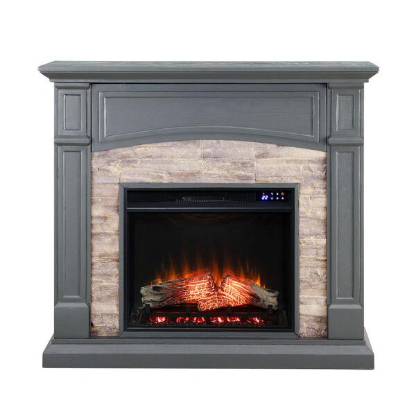 Seneca Cool Slate Gray Electric Media Fireplace, image 2