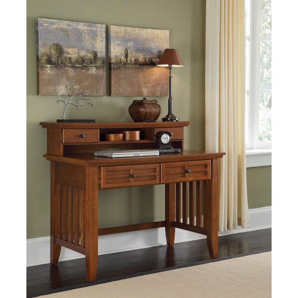 Arts and Crafts Cottage Oak Student Desk and Hutch, image 1