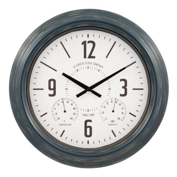 Blue Metal Outdoor Wall Clock, image 1