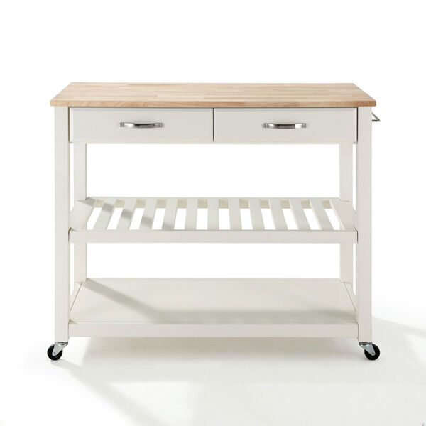 Grace Natural Wood Top Kitchen Cart/Island in White Finish, image 3