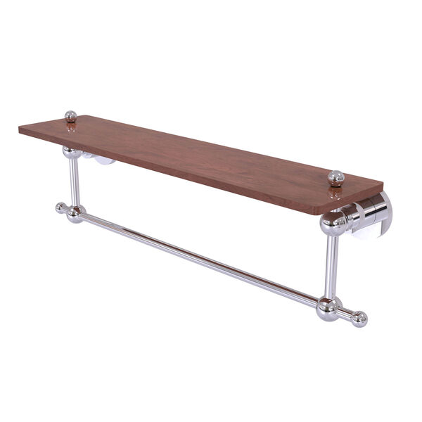 Astor Place Polished Chrome 22-Inch Solid IPE Ironwood Shelf with Integrated Towel Bar, image 1
