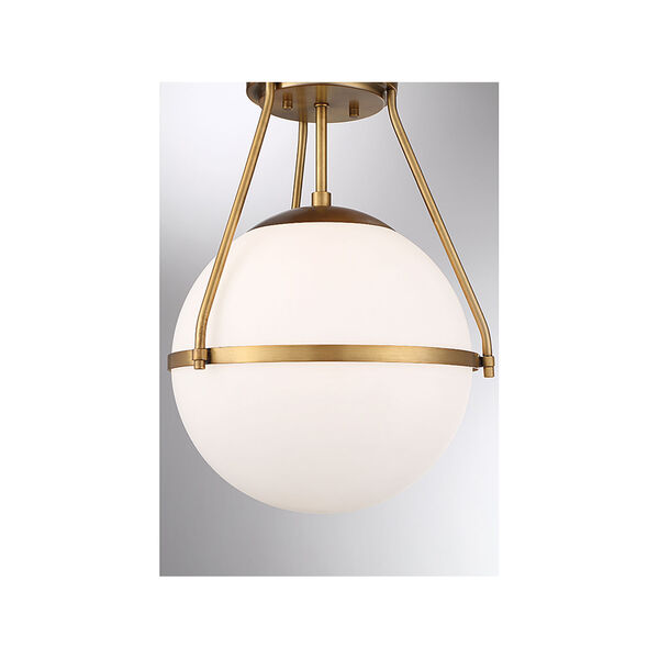 Nicollet Natural Brass One-Light Semi Flush Mount with White Opal Glass, image 6