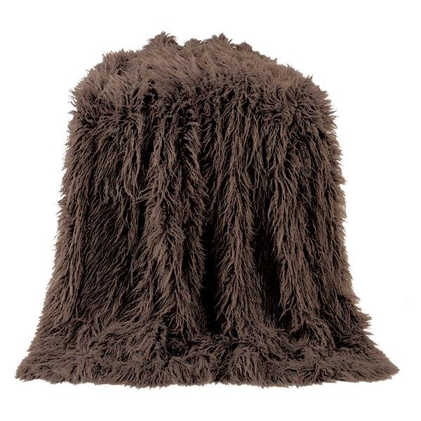 Mongolian Chocolate Faux Lamb Fur Throw, image 1