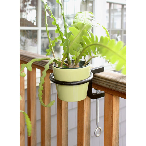 Black Powdercoat 4-Inch Clamp-on Flower Pot Ring, Set of Two, image 6