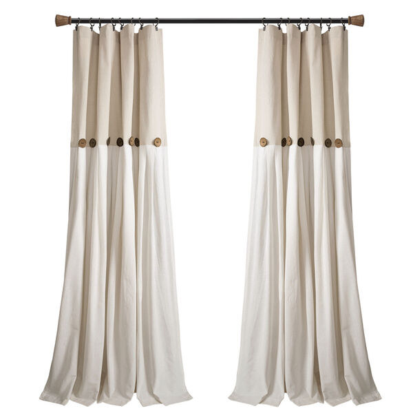 Linen Button Beige and Off White 40 x 108 In. Single Window Curtain Panel, image 5