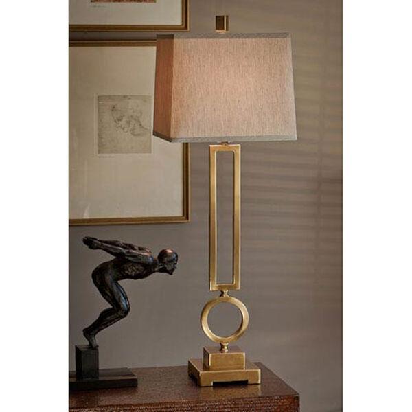 Antique Brass Rectangular Circle Lamp, image 1