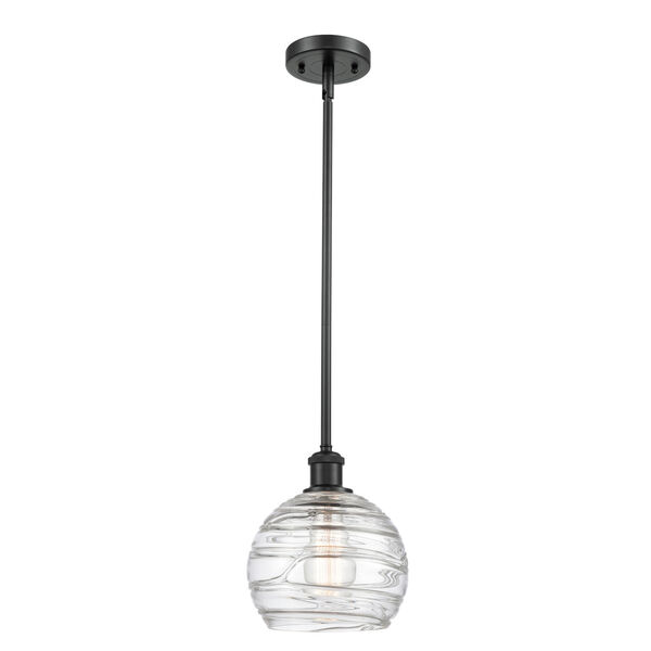 Ballston Matte Black Eight-Inch LED Mini Pendant with Clear Deco Swirl Shade, image 1