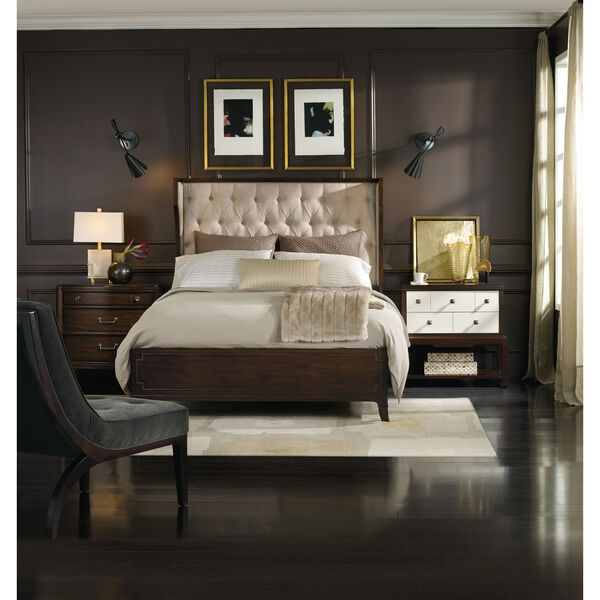 Palisade Upholstered Shelter King Bed - Taupe Fabric, image 4