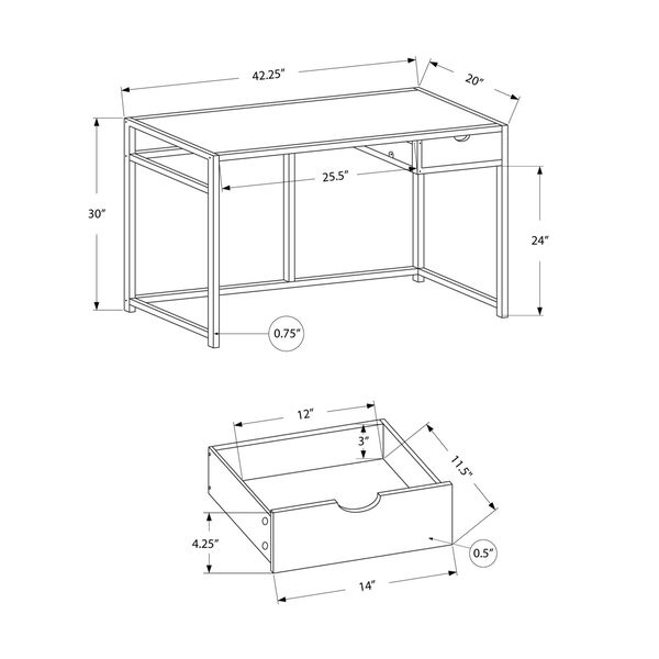 20-Inch Rectangular Computer Desk, image 4