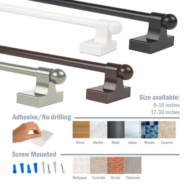 Brown 9-16 Inch Self-Adhesive Wall Mounted Rod, Set of 2, image 4