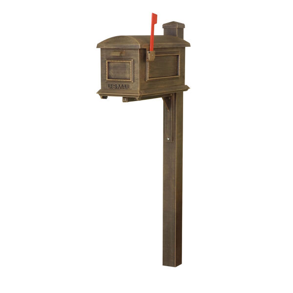 Curbside Copper Mailbox with Wellington Mailbox Post, image 2