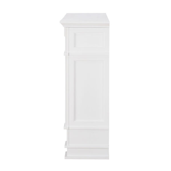 Highgate White Faux Cararra Marble Electric Media Fireplace, image 6