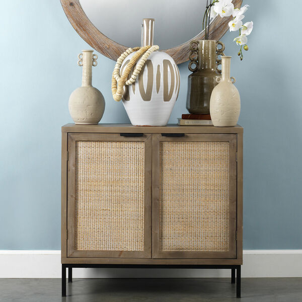 Grace Washed Wood and Black Two Door Accent Cabinet, image 5