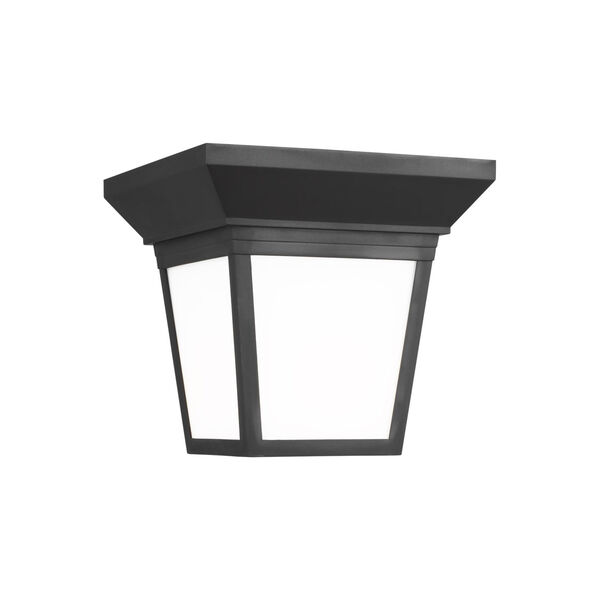 Lavon Black One-Light Outdoor Flush Mount with Smooth White Shade Energy Star, image 1
