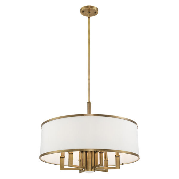 Park Ridge Antique Brass 24-Inch Seven-Light Pendant Chandelier with Hand Crafted Off-White Hardback Shade, image 5