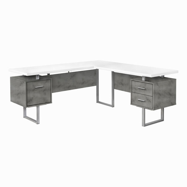 White and Black 71-Inch L-Shaped Computer Desk, image 1