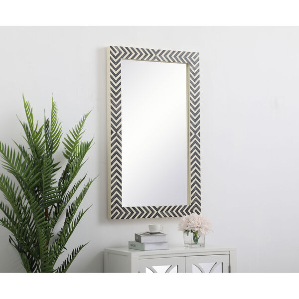 Colette Chevron 24 x 40 Inches Glass and Wood Rectangular Mirror, image 3