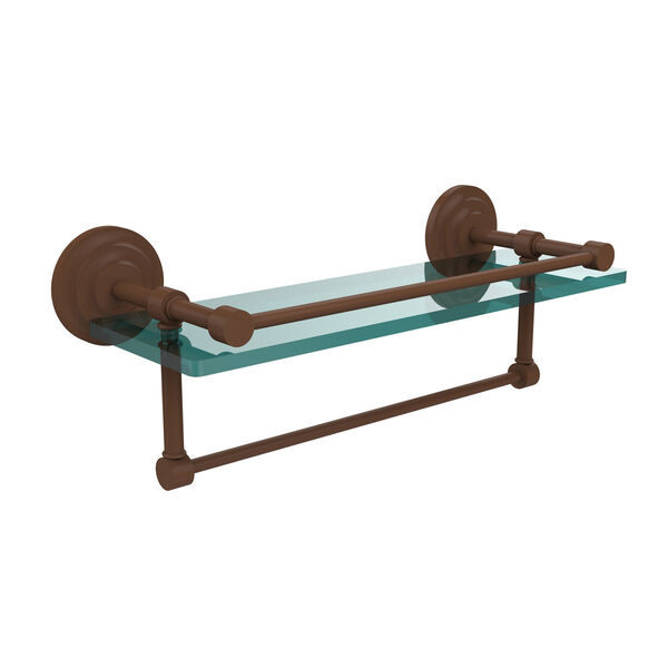 16 Inch Gallery Glass Shelf with Towel Bar, Antique Bronze, image 1