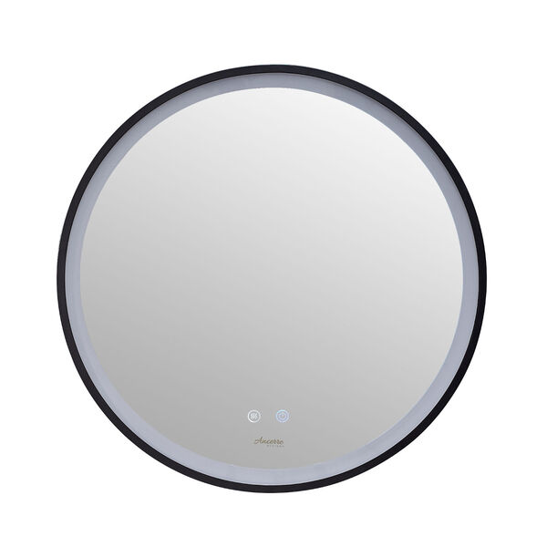 Cirque Black 24-Inch Round LED Framed Mirror with Defogger and Dimmer, image 5
